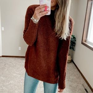 Brown mock neck sweater size medium TALL